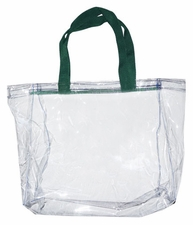 Clear Vinyl Stadium Tote Bag - Forest Green