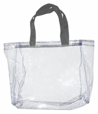 Clear Vinyl Stadium Tote Bag - Grey