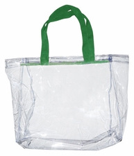 Clear Vinyl Stadium Tote Bag - Kelly Green