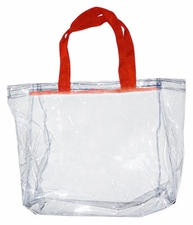 Clear Vinyl Stadium Tote Bag - Red