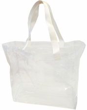 Clear Vinyl Stadium Tote Bag - White
