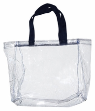 Clear Vinyl Stadium Tote Bag - Black