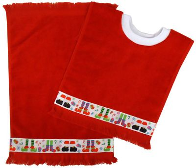Decorative Christmas Pullover Bib & Burp Set - Footwear - Red