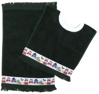 Decorative Christmas Pullover Bib & Burp Set