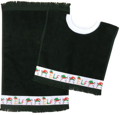 Decorative Christmas Pullover Bib & Burp Set - Elves -   Hunter Green