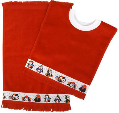 Decorative Christmas Pullover Bib & Burp Set - Penguins - Red