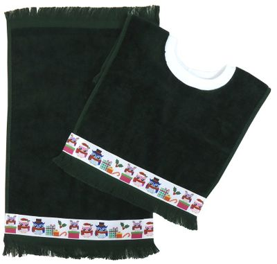 Decorative Christmas Pullover Bib & Burp Set - Owls -   Hunter Green