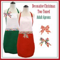 Decorative Christmas Two-Toned Aprons - Adult