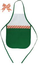 Decorative Christmas Two-Toned Apron - Child - Red/White Candy Cane Stripe