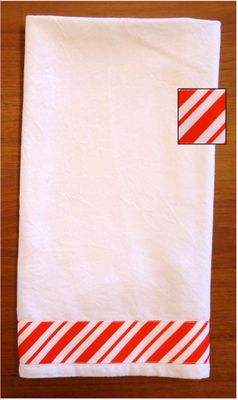 Decorative Kitchen Towel - Christmas Red/White Candy Cane Stripe
