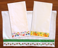 Decorative Solid Plain Weave Kitchen/Tea Towel.      Decorated with Polyester Grosgrain Ribbon.  Click on above image to see our beautiful selection