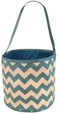 Dusty Aqua & White Zig Zag Bucket Tote