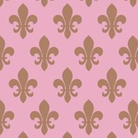Clearance Priced - Fleur de lis - QuickStitch Embroidery Paper - Pink/Brown