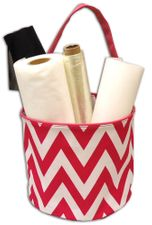 Fuchsia & White Chevron Bucket Tote
