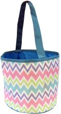 Pastel Zig Zag Bucket Tote - Multi Pink with Blue Trim