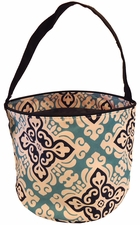 Clearance Priced - Patterned Bucket Tote - Damask Blue