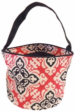 Clearance Priced - Patterned Bucket Tote - Damask Fuchsia w/Black Trim