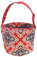 Clearance Priced - Patterned Bucket Tote - Damask Fuchsia w/Fuchsia Trim