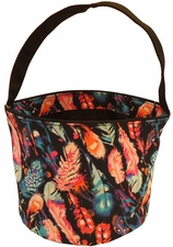 Patterned Bucket Tote - Feathers