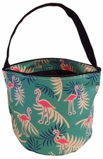 Patterned Bucket Tote - Flamingos