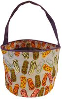 Clearance Priced - Patterned Bucket Tote - Flip Flops