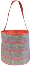 Patterned Bucket Tote - Pastel Scallop Stripes