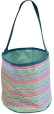 Patterned Bucket Tote - Pastel Scallop Stripes with Blue Trim