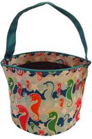 Clearance Priced - Patterned Bucket Tote - Seahorses
