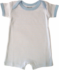 Shorts Romper - Blue/White Stripe - 0-6 mo.