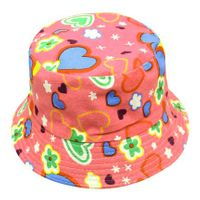 Patterned Childrens' Bucket Hat - Hearts/Flowers