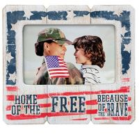 White Distressed Wood Picture Frame - Patriotic
