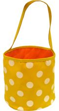 Yellow & White Polka Dot Bucket Tote