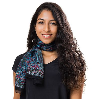 Black Arabesque Silk Long Scarf