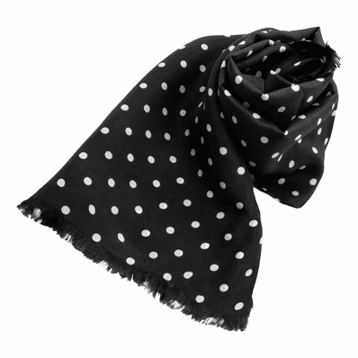 Black Polka Dot Silk Aviator Scarf
