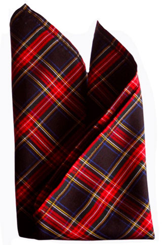 Black Red Tartan Silk Pocket Square