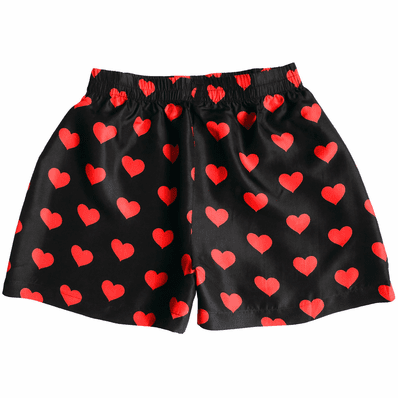 Black Silk Heart Boxers for Women
