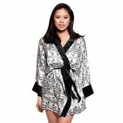 BLACK & WHITE ARABESQUE SATIN SILK KIMONO