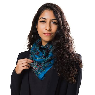 Blue Arabesque Silk Scarf