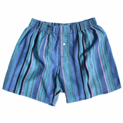 Blue Green Aqua Stripes Silk Boxers