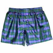 Blue Green Tartan Plaid Silk Boxers
