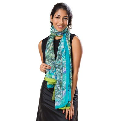 Blue Paisley Long Silk Scarf