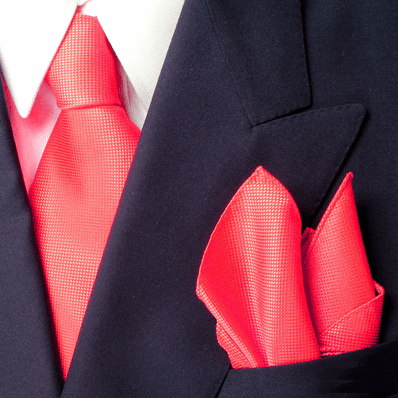 Bold Red Royal Silk Tie And Pocket Square Set