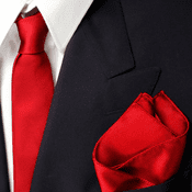 Bold Red Skinny Silk Tie And Pocket Square Set