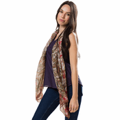 Brown Silk Paisley Long Scarf