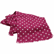 Burgundy Polka Dot Silk Aviator Scarf