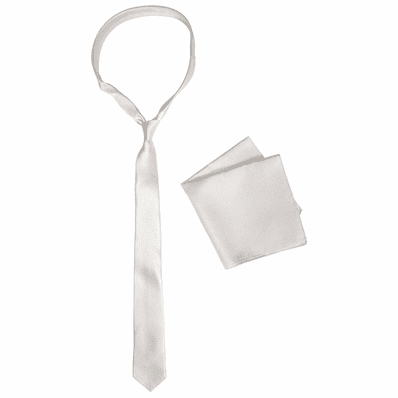 Cream White Skinny Silk Tie And Pocket Square Set