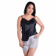 Creamy Black Satin Silk Camisole