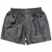 Dark Grey Stripes Men's Silk Boxers