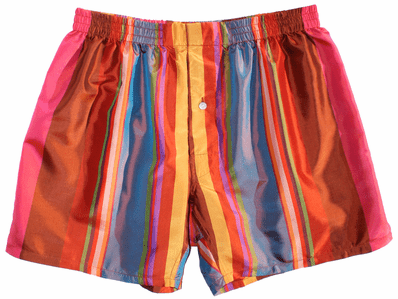 Spectacular Multicolor Stripes Silk Boxers