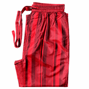 Fire Red Stripes - Men's Silk Pajama Pants